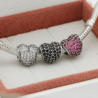 Fits Pandora Charms Bracelet And Necklace 925 Sterling Silver Charm Sets Crystal Heart Charms Beads Women