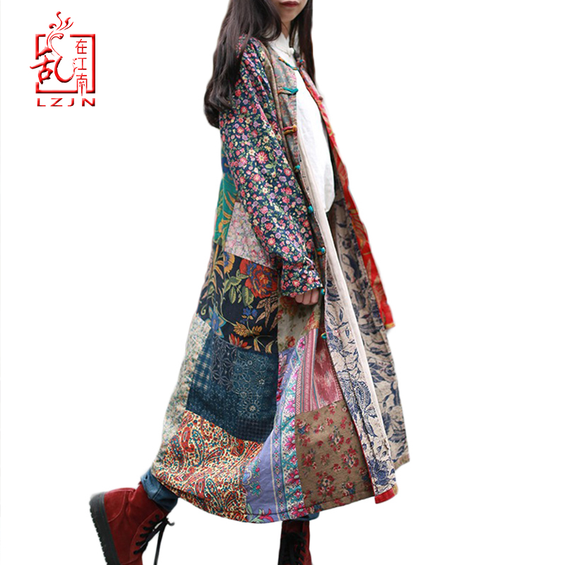 LZJN Spring-Coat Outerwear Windbreaker Traditional Chinese Long Women Patchwork  title=