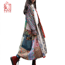 LZJN 2020 Spring Coat Single Breastered Trench Coat for Women Traditional Chines