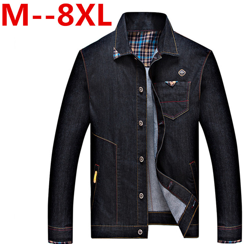 Plus size 8XL 7XL 6XL 5XL 4XL men jean jacket men denim jackets for men stand collar 100% cotton outerwear jean jacket men