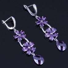 Very Good Flower Water Drop Purple Cubic Zirconia 925 Sterling Silver Dangle Earrings For Women V0809