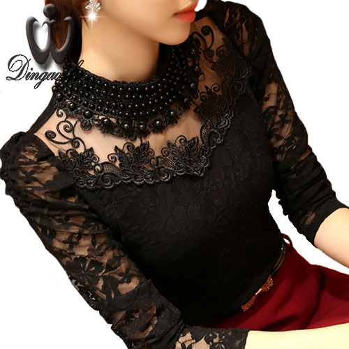 S-5XL Hot sale Sexy Women shirts Beaded Casual Clothing Plus size Floral lace Blusa Patchwork Chiffon blouse Women lace Tops