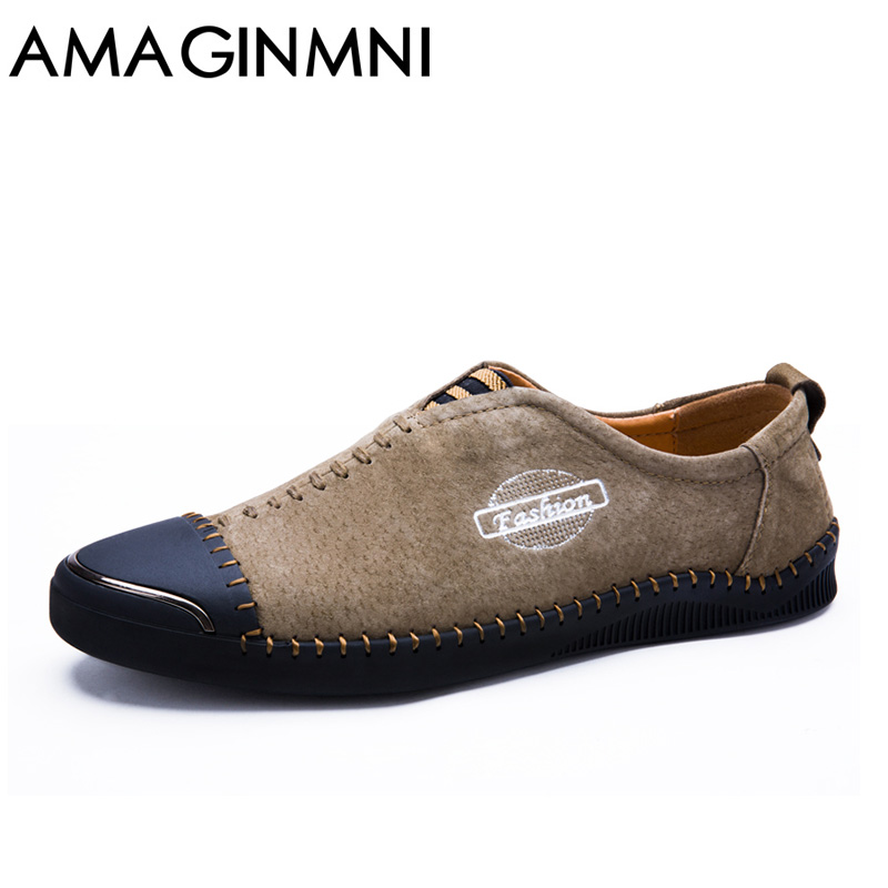 AMAGINMNI Brand Men's Loafers Leather Classic Moccasins Men Leather Casual Shoes Comfortable shoes with comfortable feet cbjsho brand men shoes 2017 new genuine leather moccasins comfortable men loafers luxury men s flats men casual shoes