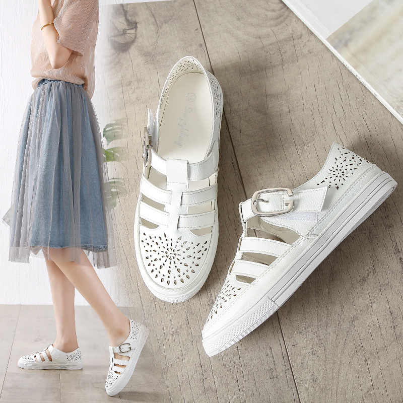 White hollow out gladiator sandals woman plus size 34-43 girls flats breathable sandalias summer cutout sandalia female shoes