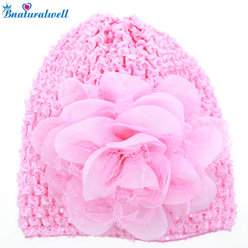 Bnaturalwell Chapeu Infant Crochet Shell Beanie Hat Baby Girls Spring Flower Hat Photo Prop Baby Head Accessories H828