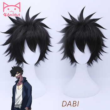【AniHut】Dabi My Hero Academia Cosplay Wig Synthetic Black Hair Anime Boku No Dabi Heat Resistant