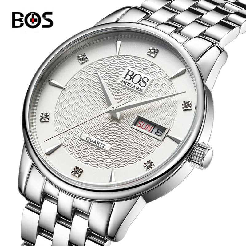 2016 New Luxury Watch Brand BOS Quartz Watch Men Steel Fashion Clock Male Waterproof Watches With Complete Calendar relogio new listing men watch luxury brand watches quartz clock fashion leather belts watch cheap sports wristwatch relogio male gift