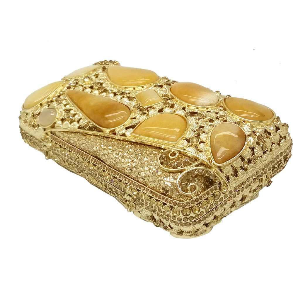Golden Batu Wanita Evening Dompet Tangans Merek Hollow Keluar Berlian Kristal Bridal Pernikahan Handbags Logam Cengkeraman Bahu Dompet