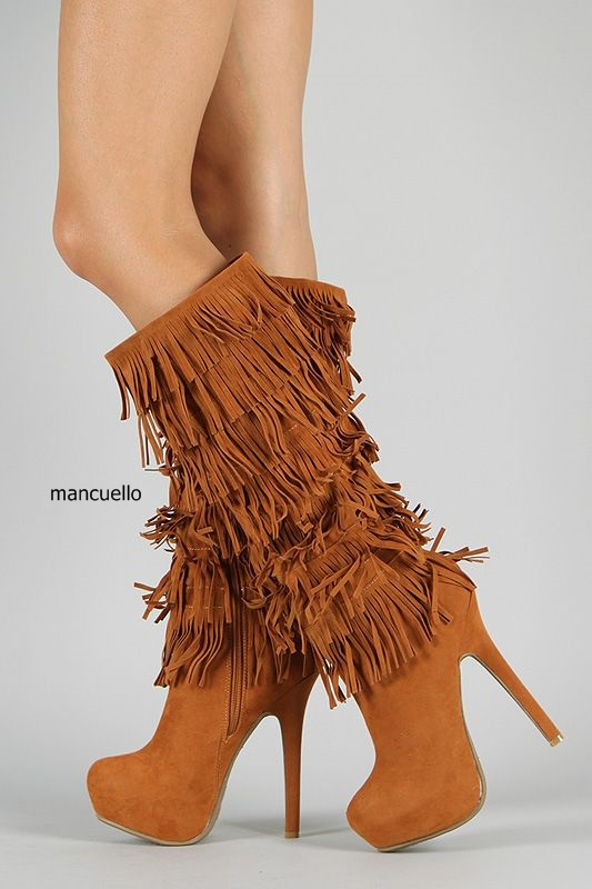 Fancy Women Brown Suede Flowing Fringe Stiletto Heels Mid-Calf Boots Round Toe Platform Tassel Side Zip Long Boots New Design double buckle cross straps mid calf boots