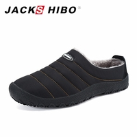 JACKSHIBO Winter Plush Men Slippers Big Size Slides Shoes Men S Home Slippers Unisex Fleece Warm