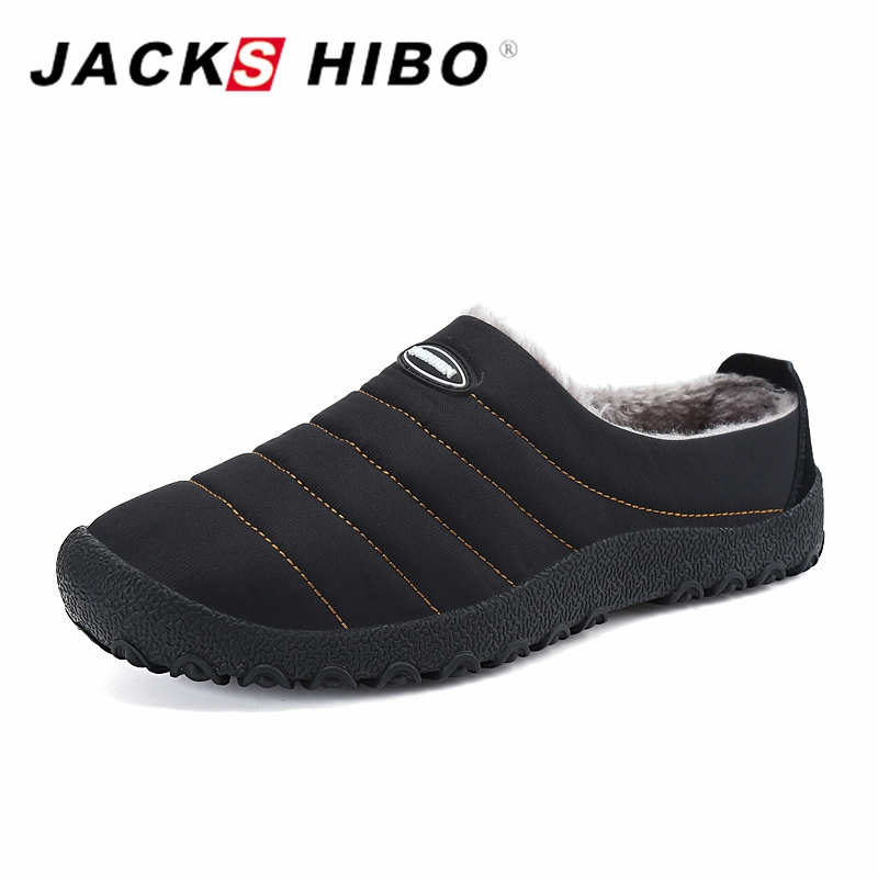 JACKSHIBO Winter Plush Men Slippers Big Size Slides Shoes Men's Home Slippers Unisex Fleece Warm Fur Thicken Cotton-padded Shoes