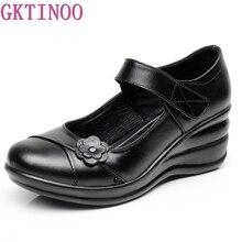GKTINOO Chaussure en cuir véritable pour femmes, chaussures de marche à semelle compensée, sans lacet