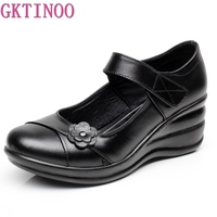 GKTINOO Genuine Leather Slip On Shoes Walking Shoes Woman Platform Casual Shoes Woman Sapatos Femininos Chaussure Femme Wedges