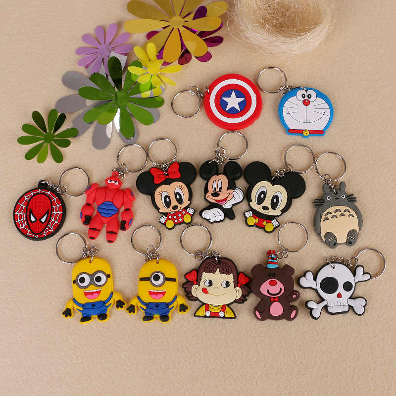 1PCS Cute Animal Cartoon Mickey Uil Siliconen sleutelhanger Sleutelhanger Rugzak Accessoires sleutelhangers Kids Party Gift