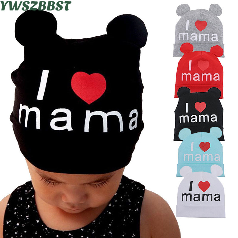 New Spring Autumn Cotton Baby Hat with Soft Ear Girl Boy Cap Scarf I Love MAMA Print Children   Beanie   Cap Knitted Kids Hats