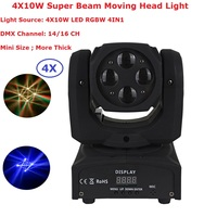 4 Pack Mini Size Super Beam Moving Head Lights 4X10W RGBW Quad Color LED Beam Lights With 14/16 DMX Channels Fast Shipping