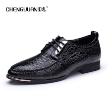 Men flat leather shoes lace up blue black point toe business casual leather shoes larger size US11 men flats shoes CY711