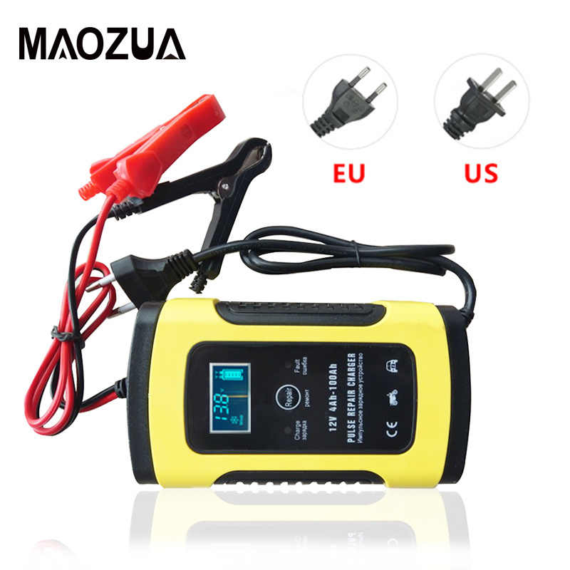 Maozua 12V 6A Intelligent Car Motorcycle Battery Charger for Auto Moto Lead-Acid Smart Charging 6A AMP Digital LCD Display