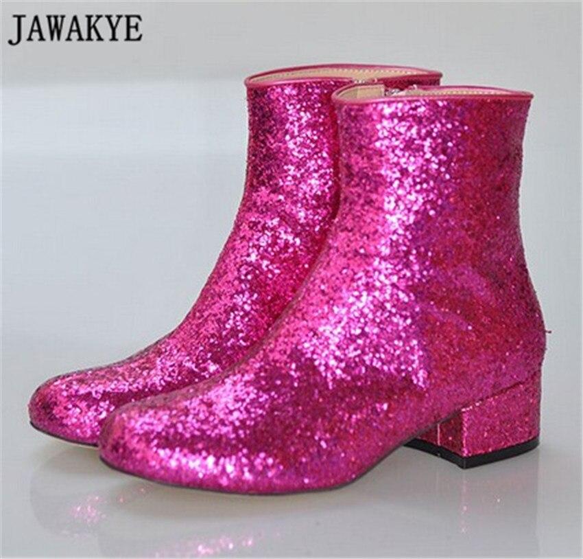 Новые блестящие шикарные блестящие сапоги до колена на среднем каблуке круглый носок Для женщин длинные Сапоги и ботинки для девочек Зимни...