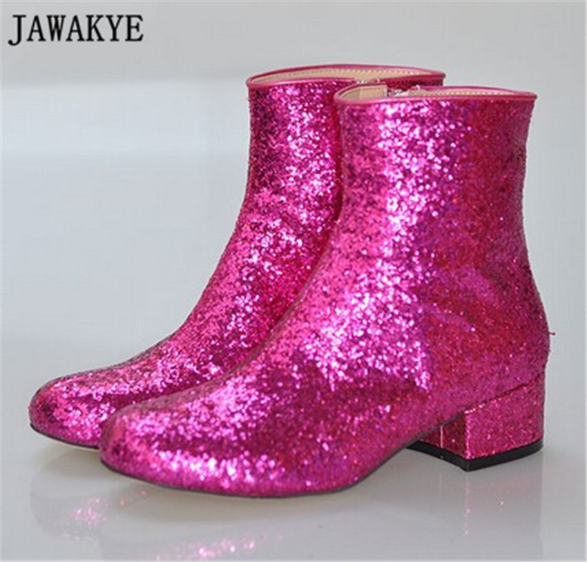 Newest Shinny Bling Bling Glitter Knee High Boots med Heel Round Toe Women Long boots winter Rainboots ankle boots for women women sexy bling bling open toe lace up glitter embellished gladiator ankle boots cut out mix color sequined high heel boots