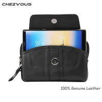 Men Genuine Leather Vintage Travel Cell Mobile Phone Belt Pouch Purse Waist Bag For IPhone 8