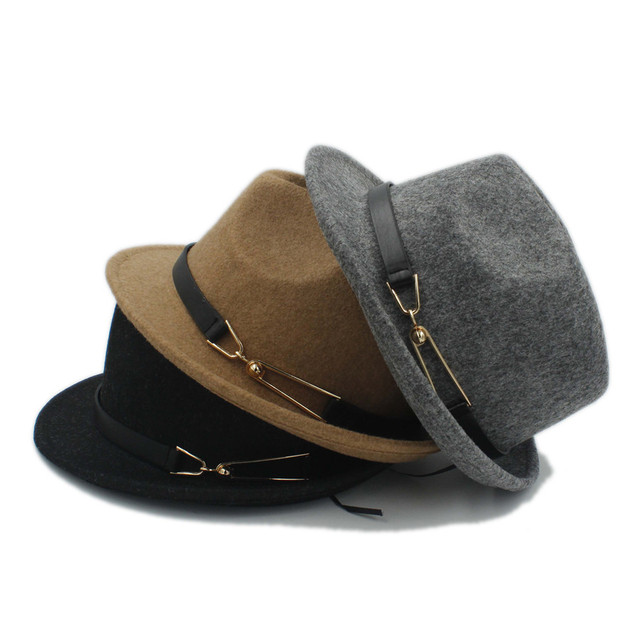 7ccc684f4e8 Unisex 100% Wool Women Men Chapeau Femme Fedora Hat For Gentleman Sombrero  Cap Elegant Lady Trilby Church Derby Cloche Sun Cap
