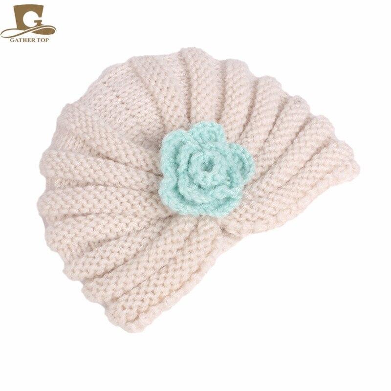 82dbad8dd US $4.94 21% OFF Aliexpress.com : Buy New Winter Kids Crochet Flower Knit  Beanie Baby Handmade Turban Hat Grils Warm Cap Children knit turban from ...