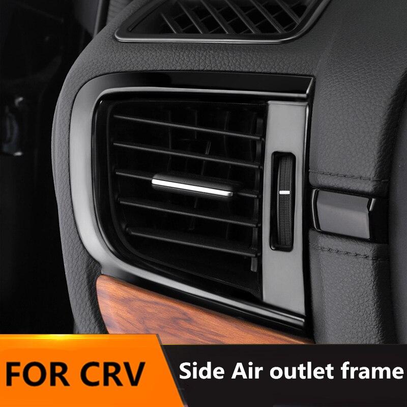 Miroir intérieur titane noir côté sortie d'air cadre en acier inoxydable garniture 4 pièces pour Honda CRV accessoires 2017 2018 2019