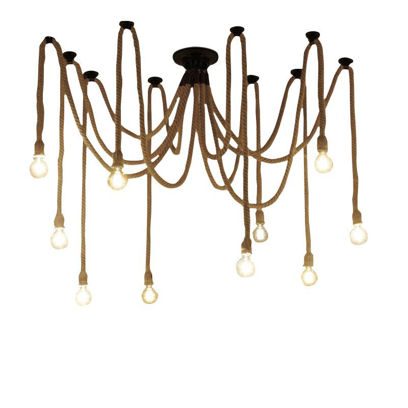 New 6/8/10/12 Lights industry style Spider Pendant Lamp office Clothing store Restaurant Vintage iron hemp rope chandelierNew 6/8/10/12 Lights industry style Spider Pendant Lamp office Clothing store Restaurant Vintage iron hemp rope chandelier