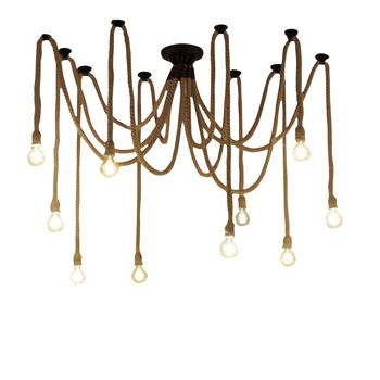 New 6/8/10/12 Lights industry style Spider Pendant Lamp office Clothing store Restaurant Vintage iron hemp rope chandelier
