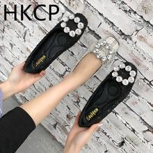 цены на HKCP Women 2019 New Square Square Head Shallow Mouth Black Flat-soled Shoes with Water Diamond Single Shoes C127  в интернет-магазинах