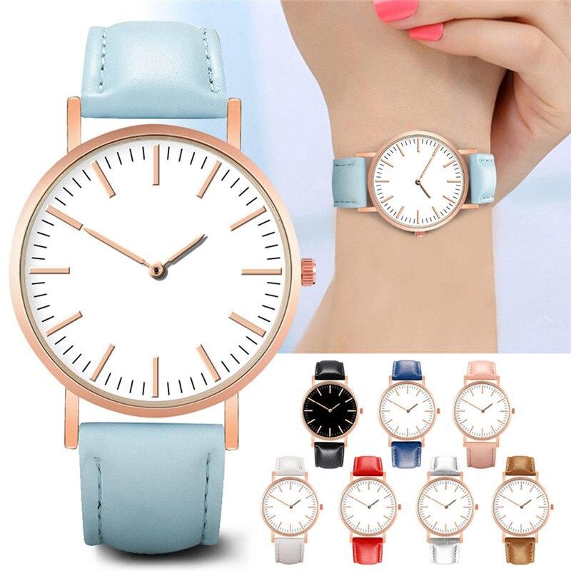 Stylish Luxury Women Watches Leather Band Quartz Wristwatch Simple Daily Dial Casual Bracelet Ladies Watch Chic Montre Femme *A