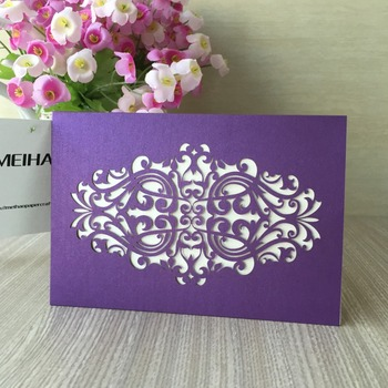 35pcs Purple Wedding Invitations Card Laser Cut Lace Invitation Cards Birthday/Baby Shower/Business/ Christmas Party No Inners