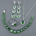 925 Sterling Silver Jewelry Sets For Women Green Created Emerald White Topaz Bracelets Necklace Pendant Earrings Rings Free Box