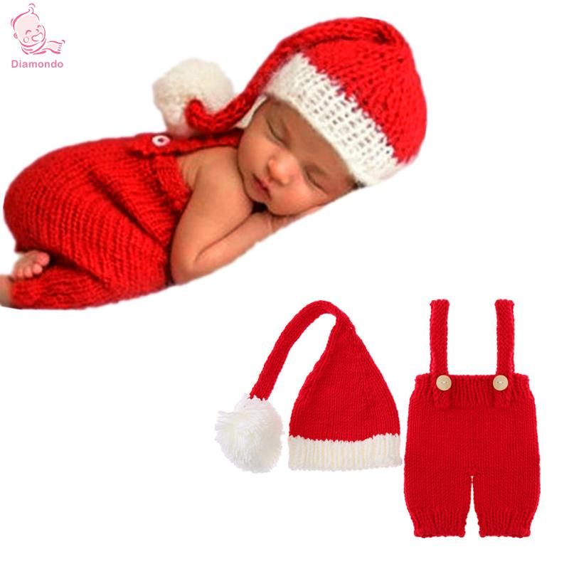 2 Teile/satz Nette Baby Stricken Fotografie Requisiten Overalls Hut Festival Anzug Neugeborenen Schöne Weihnachten Infant Red Overalls + Hut