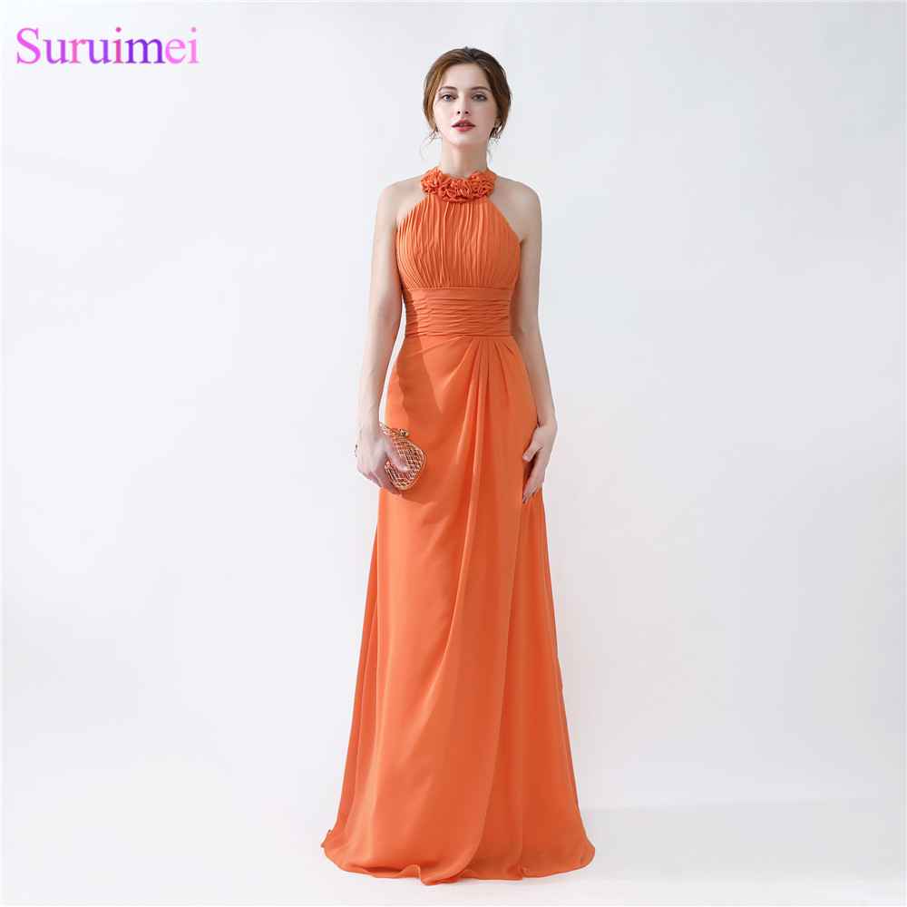 Orange bridesmaid dresses cheap floor length pleated peach color orange bridesmaid dresses cheap floor length pleated peach color chiffon on sale halter bridesmaid dresses in bridesmaid dresses from weddings events on ombrellifo Image collections