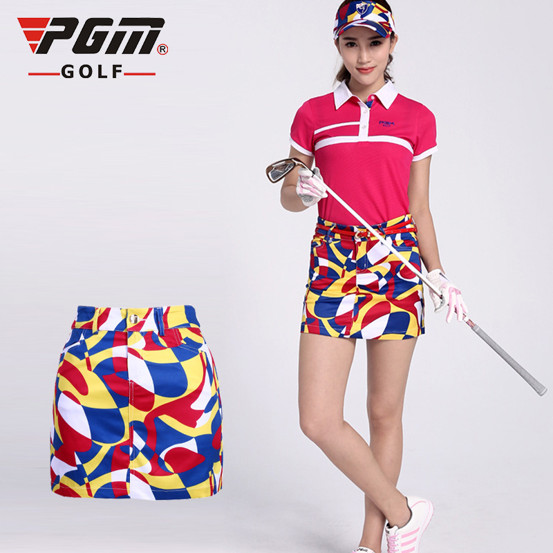 PGM Golf Skirt For Women Brand Summer Print Elasticity Polyester Anti-emptied Breathable Ladies Golf Sports Skorts