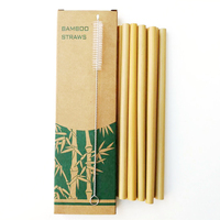 Hot 100pcs/lot Bamboo Drinking Straws Reusable Eco Friendly Party Kitchen + Clean Brush Useful kitchen Tool 2019 New wholesale