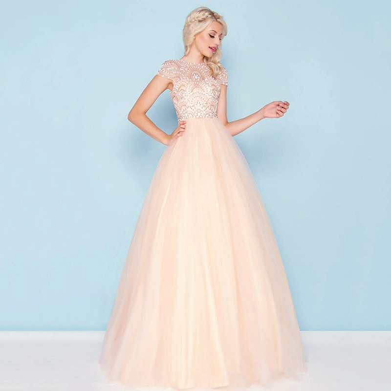 a66dd4544eb5 Formal Women Ball Gown Evening Dresses 2019 Elegant Blush Tulle Cap Sleeve  Beading Prom Maxi Party