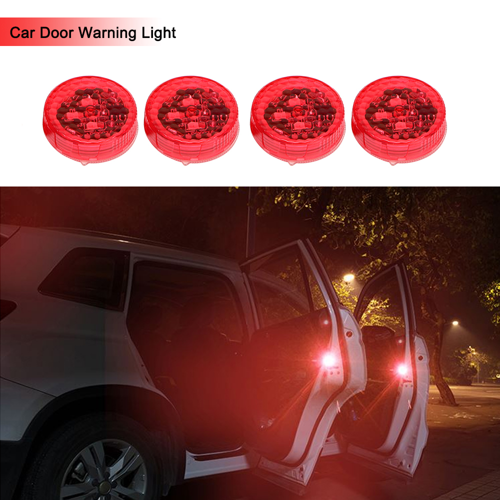 4pcs Car Door Lights LED Warning Lamp Signal Lamp Anti Collision Magnetic Flashing Auto Strobe Traffic Light Safety Car-styling