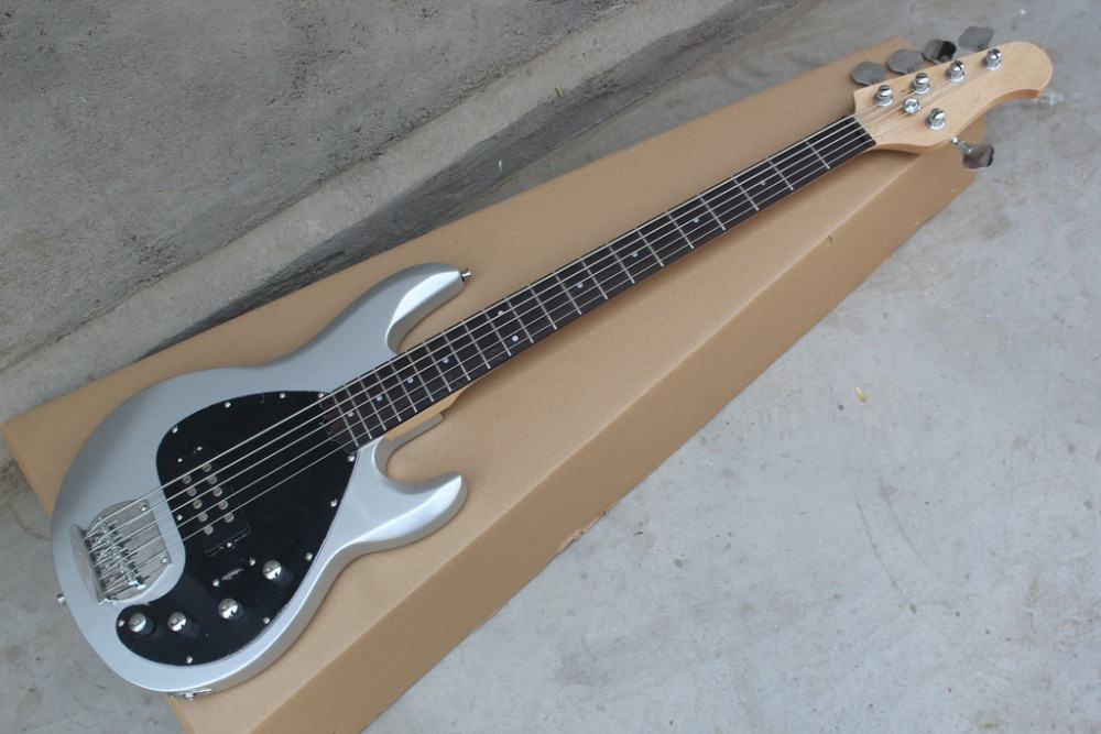 2016 new factory silver music man bass sting ray 5 strings musicman electric bass active. Black Bedroom Furniture Sets. Home Design Ideas