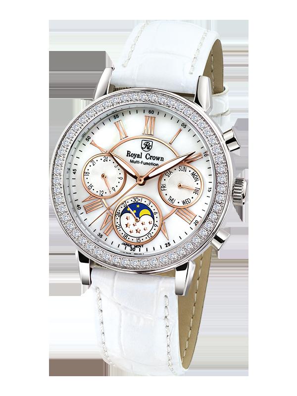 Royal Crown 6422 Italy brand Diamond Japan MIYOTA Chronograph calendar Moon phase Top Luxury Brand Female Lady Watches Gift кольцо royal diamond