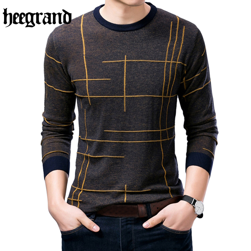 HEE GRAND 2017 Fashion Male Simple O-Neck Full Sleeve Striped Plus Size Pullovers High Quality Men Sweater MZL767