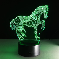 Lovely Horse 3D LED Night Light 7 Color Dimming Illusion Bedroom Lamp Holiday Light Child Kids