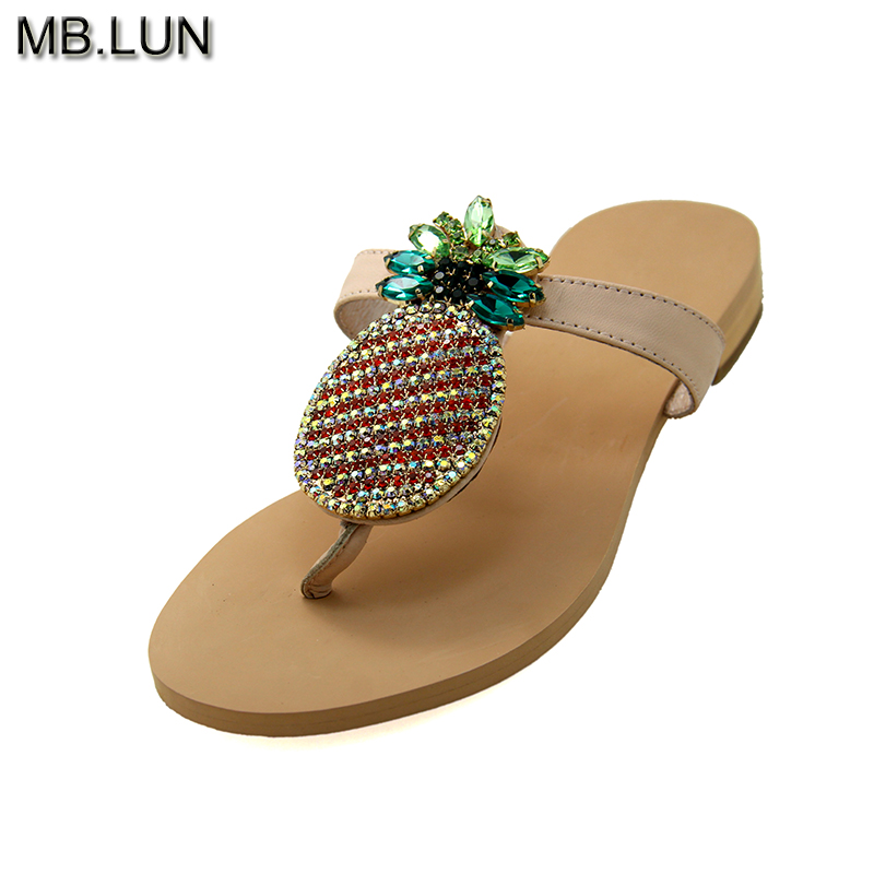 Ladies Sweet Flat Flip Flops Women Sandals Summer 2017 Fruit Rhinestone Sandals For Women Plus Size 12 13 Women's Shoes MB.LUN