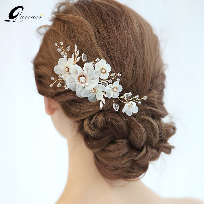 Us 9 9 50 Off Queenco White Flower Wedding Hair Accessories Bridal Hair Comb Gold Pearls Bridesmaids Gift Party Jewelry Bridal Hairpins In Hair