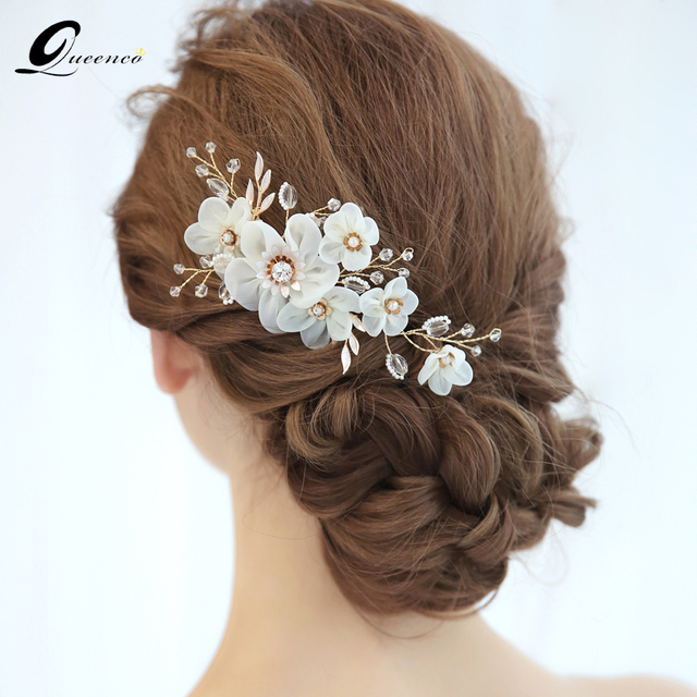 Queenco white flower wedding hair accessories bridal hair comb gold queenco white flower wedding hair accessories bridal hair comb gold pearls bridesmaids gift party jewelry bridal mightylinksfo