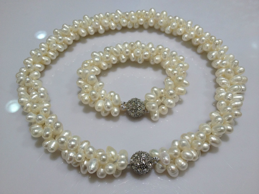 Jewelry Set Of Necklace And Bracelet Wedding Pearl Necklace Freshwater Pearl Necklace Bracelet Multilayer real Pearls elegant rhinestoned bowknot three layered faux pearl necklace and bracelet for women
