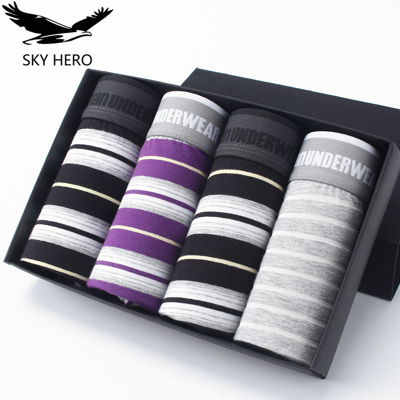 4pcs/lot 2017 Cotton Men's Boxer Shorts Comfortable Mens Underwear Sexy Boxers Panties Male Cueca New Brand Pouch Striped Sky
