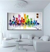 Best seller de pinturas abstratas pintura a óleo paisagens da cidade moderna de temas para a pintura na lona pintura a óleo para quarto de crianças